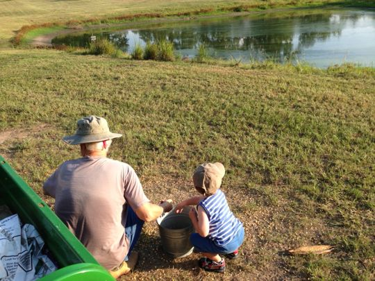 Kyle loves the farm. Here feeding the deer with Pappy.